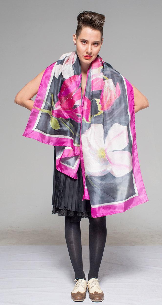 Hochzeit - Silk Shawl Wrap- Pink flame Magnolias/ Bridal Shawl/ Wedding accessory/ Hand painted Scarf, Floral scarves/ Luxurious Shawl/ Fuchsia shawl