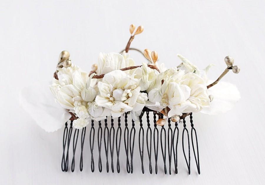 Wedding - Rustic Hair Comb, Cream Flower Comb, Woodland Hair Piece, Bridal Hair Comb, Flower Hair Comb, Cream Floral Comb, Wedding Hair Comb,