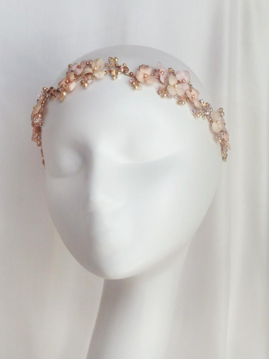 Mariage - Pink Tones Floral Bouquet Bridal  Gold Headband  - Floral Bridal Gold Crystal Headband - Sparkling Gold Wedding Floral Head Piece