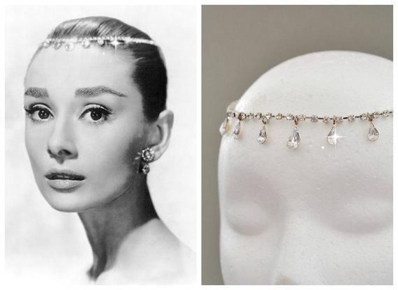 Hochzeit - Audrey Hepburn Teardrop Tiara Inspired BRIDAL HEADBAND,Wedding Bridal Hair Jewelry Bridal Rhinestone Tiara bridal Hair Wreath Bridal Halo