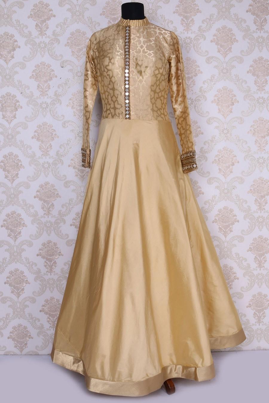 Wedding - Beige lovely floor length satin gown with mandarin collar
