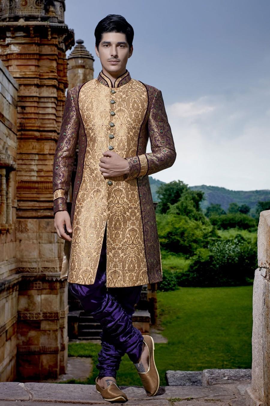 Wedding - Gold multicoloured khinkwab opulent jodhpuri bandh gala sherwani with silk bridges