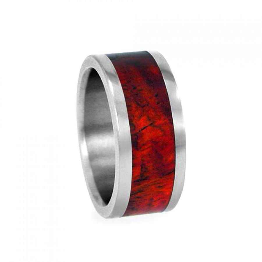 Wedding - Blood wood Titanium Ring, Wooden Wedding Band, Ring Armor Included