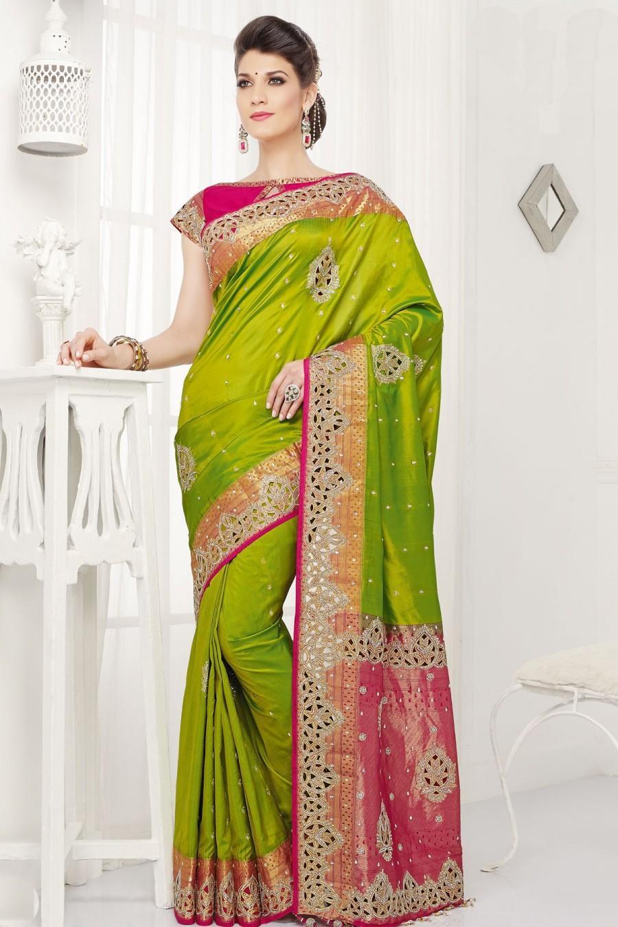 dde87a230c38 Green Pure Silk Grand Zari Weaved Saree With Gold Border #2459178 ...