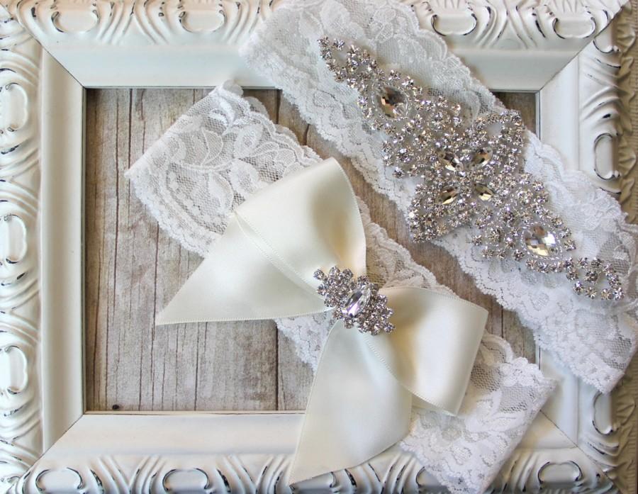 Свадьба - CUSTOMIZE Your Garter - Vintage Wedding Garter Set with Crystals & Rhinestones on Comfortable Lace, Bridal Garter Set, Crystal Garter Set