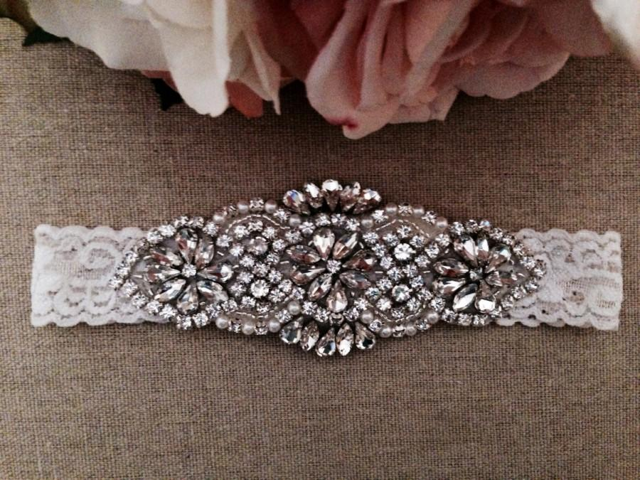 Свадьба - Wedding Garter - Bridal Garter - Pearl and Crystal Rhinestone Garter