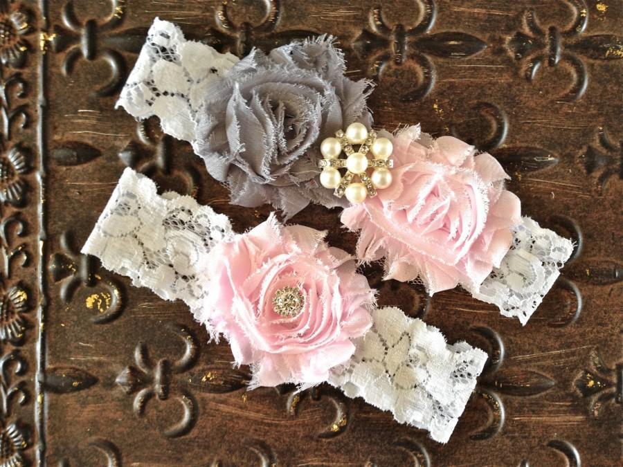 Свадьба - Wedding Garter, Wedding Garter Set- Blush Wedding Garter, Blush Gray Garter, Blush Garter Set, Pink Wedding Garter, Pink and Gray Garter