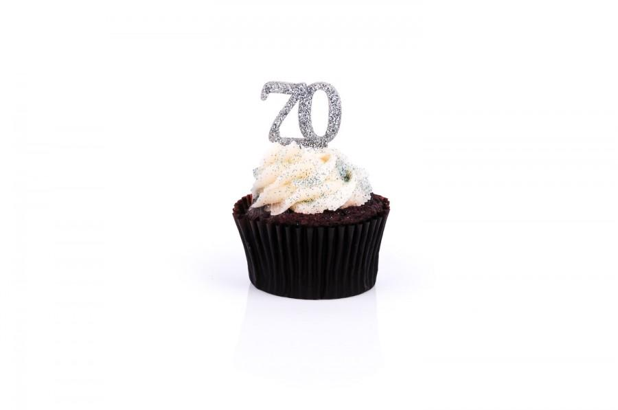 SILVER Glitter Acrylic Cupcake Toppers 70th Birthday Party Anniversary You Choose Quantity CTA0035