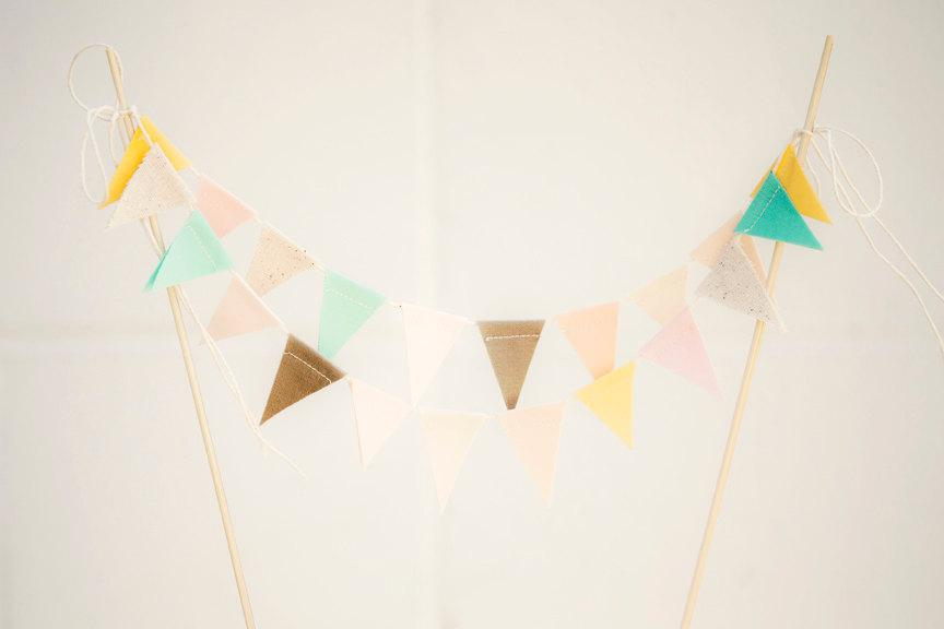 Свадьба - Earthy Pastel Mint Blush Buttercup Fabric Bunting Cake Topper Decoration / Vintage Circus Style