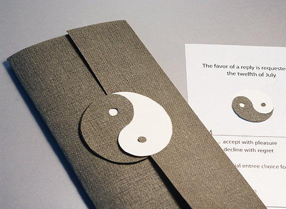 Hochzeit - Wedding Invitation Set, Yin and Yang, Dao, Daoism, Chinese Philosophy, Cutout, Scrapbook, Papercut by Naboko