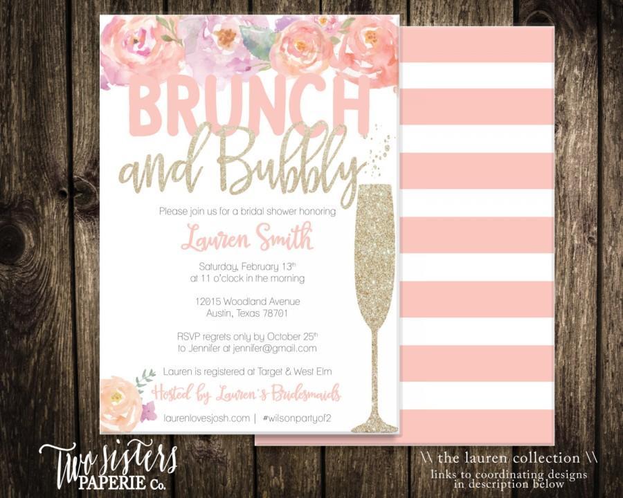 Hochzeit - Floral Brunch and Bubbly Bridal Shower Invitation - LAUREN Collection - Printable Invitation