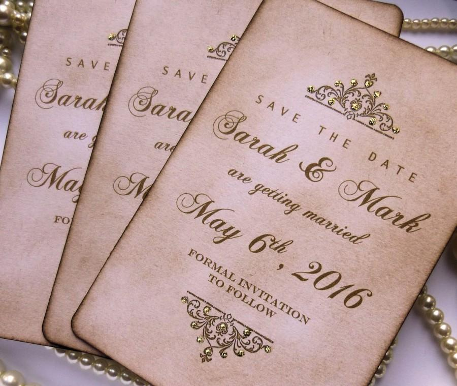 Save The Dates Wedding Luxury Date Gold Invitations With Glitter Vintage