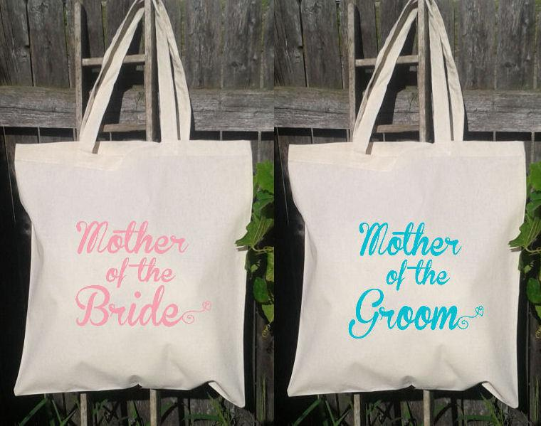 Свадьба - Mother of the Bride & Mother of the Groom Set- Wedding Tote Bags