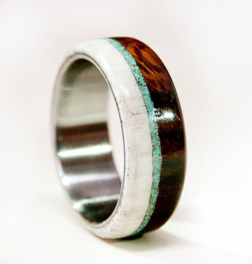 Свадьба - Mens Wedding Band Wood w/ Antler & Turquoise