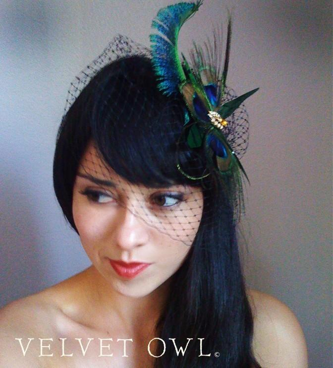 Wedding - Peacock clip fascinator or comb with detachable White Ivory Champagne or Black French Russian netting birdcage veil - THEODORA SET