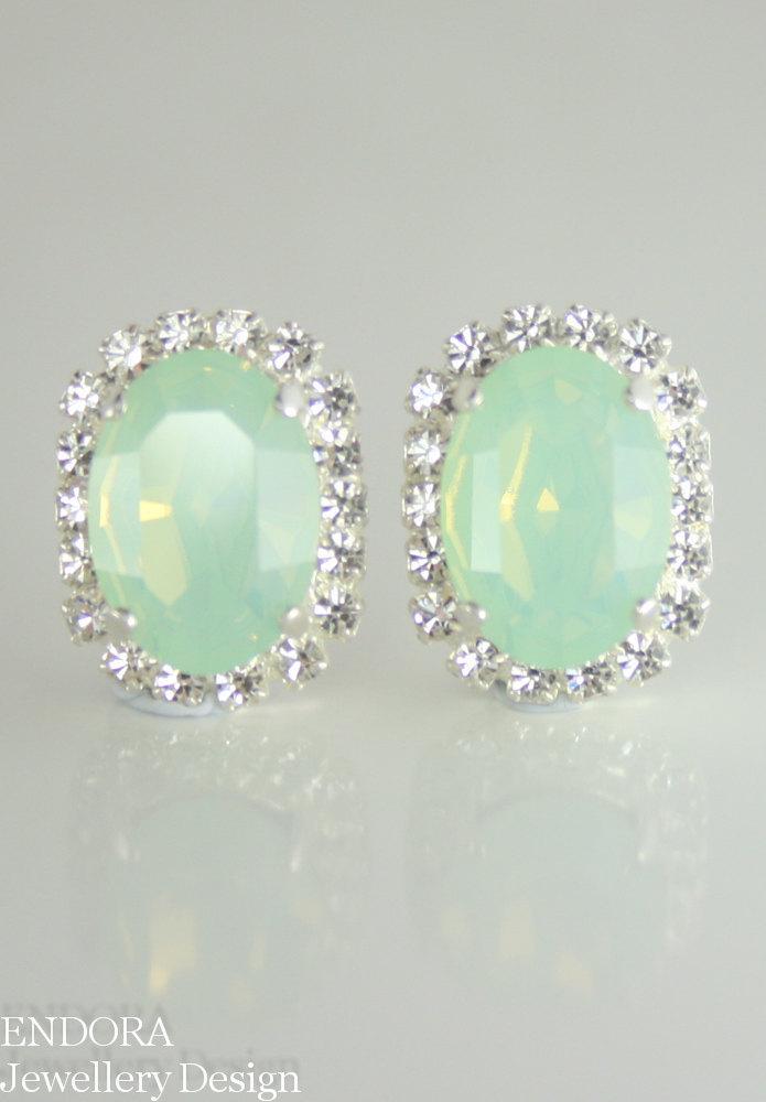 Mariage - crystal earrings wedding ,mint green crystal stud earrings,seafoam earrings,mint green oval crystal earrings,swarovski,mint green jewelry