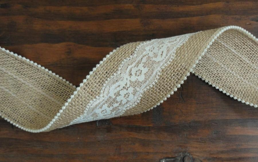 Hochzeit - 2.5 inch Burlap Lace and Ivory Pearl Ribbon--Rustic Wedding Decor--Shabby Chic Wedding--Burlap Lace Ribbon