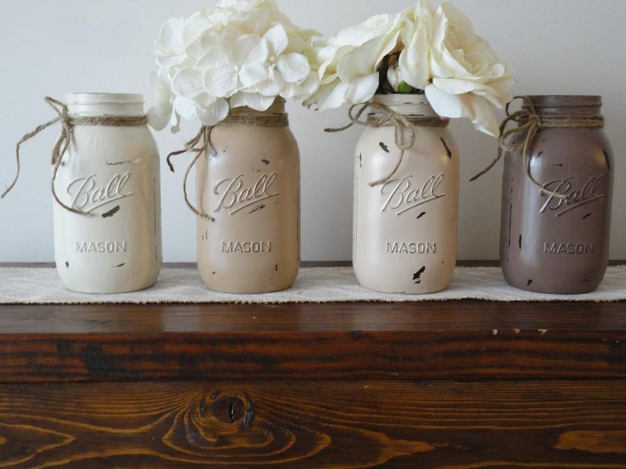 Painted Mason Jars Set Of 4 Distressed Neutral Color Mason Jars