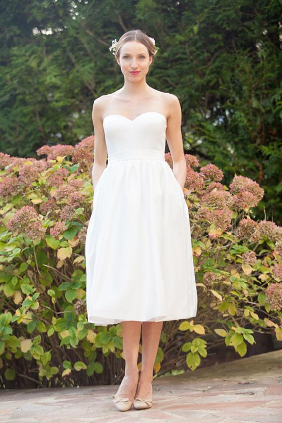 Tea Length Wedding Dress/ 50s Retro Wedding Dress/ Strapless ...