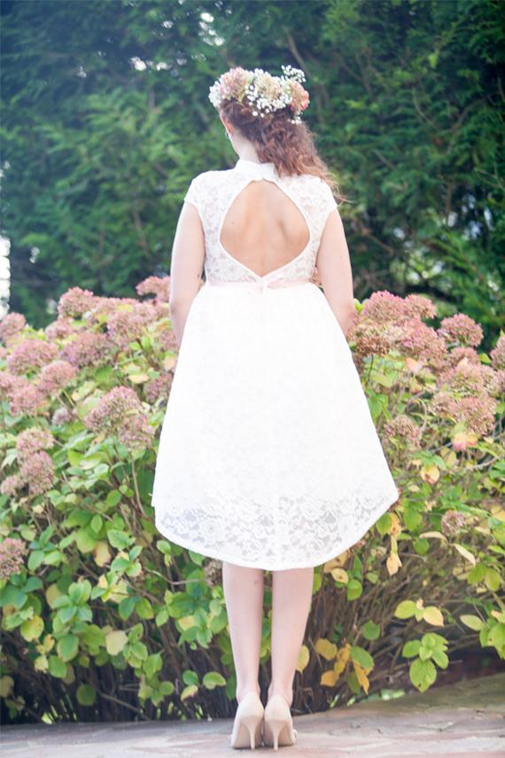 زفاف - High low wedding dress backless/ short lace wedding dress open back/ 50s retro wedding dress low back/ Robe de mariée courte Alesandra Paris