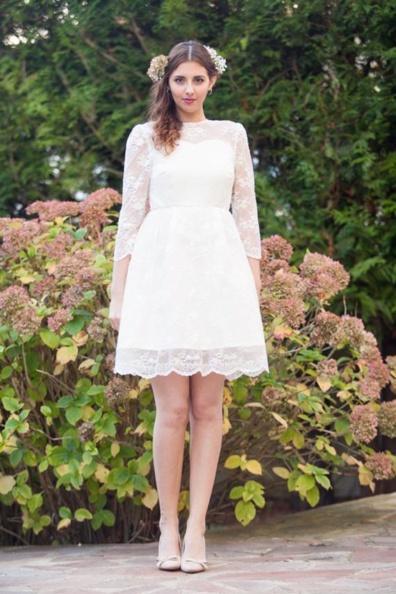 Short Wedding Dress With Long Sleeves Open Back Lace Robe De Mariée Courte Alesandra Paris