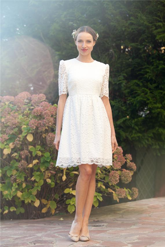 Short wedding dress retro lace wedding dress with sleeves for Long straight wedding dresses