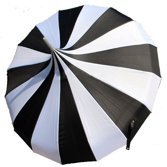 Wedding - Pagoda Black and White Stripe Bridal Umbrella