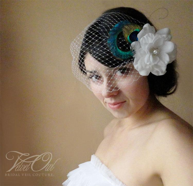 Wedding - Bridal gardenia clip comb fascinator peacock feather accents and detachable French Russian netting birdcage veil - AMALEINA