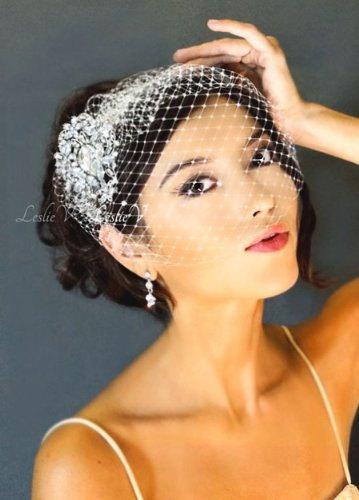 Свадьба - Leslie Li Grace Style Crystal Bridal Birdcage Veil with Crystal Brooch 27-30738
