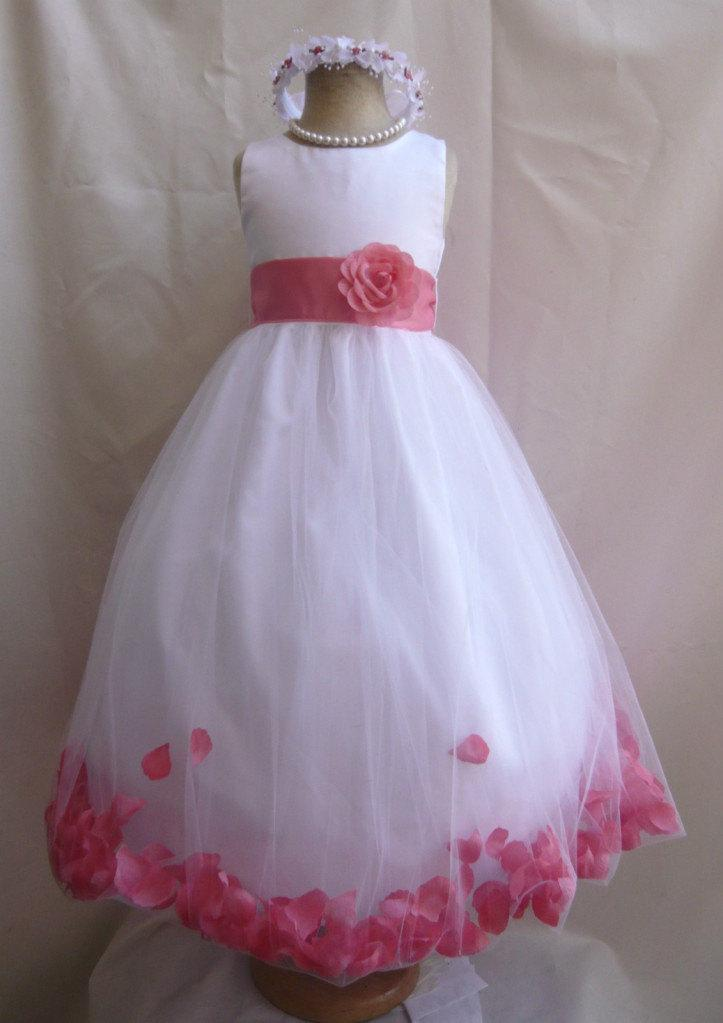 b64ff1533 Flower Girl Dresses - WHITE with Guava Rose Petal Dress (FD0PT) - Wedding  Easter Bridesmaid - For Baby Children Toddler Teen Girls
