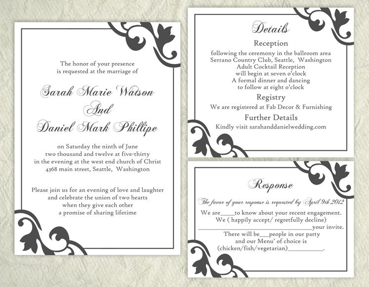 Wedding Invite Templates Word