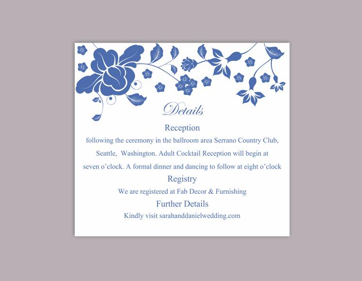 diy wedding details card template editable word file instant, Invitation templates