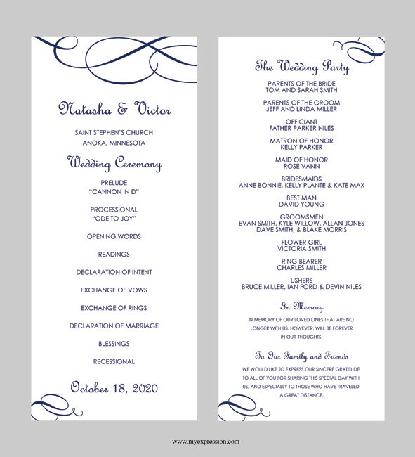 Wedding program template tea length calligraphic for Free wedding program templates word