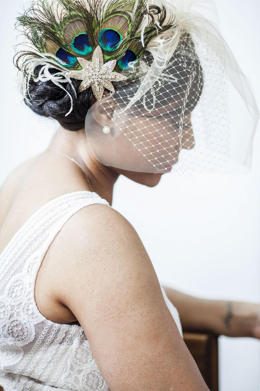 Свадьба - Wedding Veil, Double Birdcage Veil, Ivory Tulle, Any Length, Comb or Clip, White Wedding Veil, Unique Bridal, Offbeat, Retro Wedding