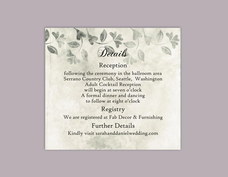 DIY Rustic Wedding Details Card Template Editable Word File Download Printable  Leaf Details Card Gray Silver Details Card Enclosure Card  Editable Leaf Template
