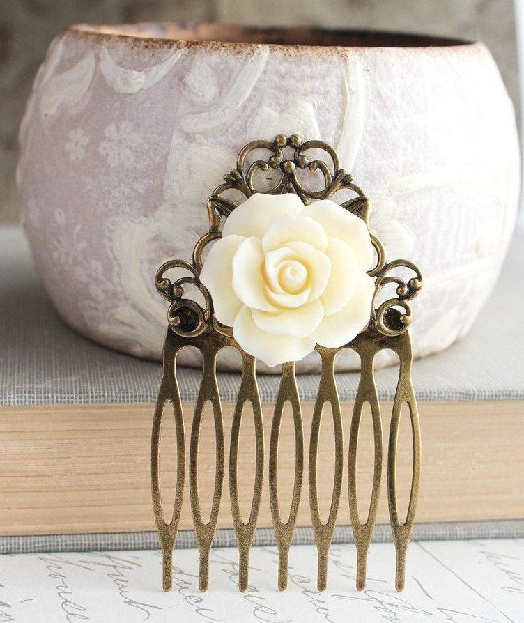 Mariage - Ivory Cream Rose Hair Comb Bridal Hair Accessories Vintage Style Bridesmaid Gift Shabby Romantic Wedding Antique Brass Filigree Country Chic