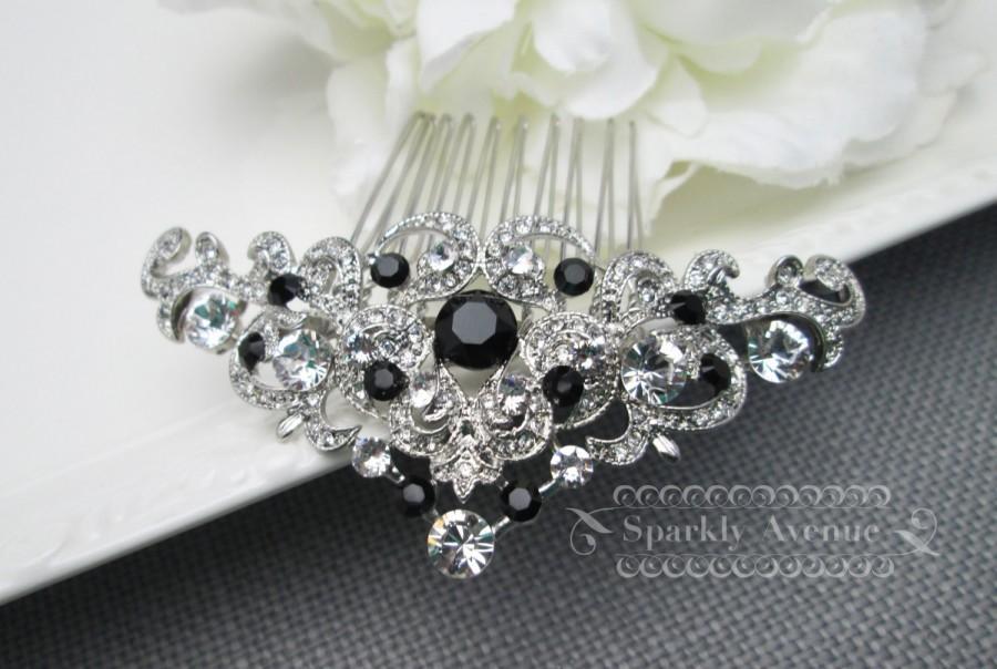 Wedding - Bridal Hair Comb Black Hair Comb Art Deco Hair Piece Jet Swarovski Crystal Bridal Hair Piece Wedding Hair Accessory Bridal Clip Haven