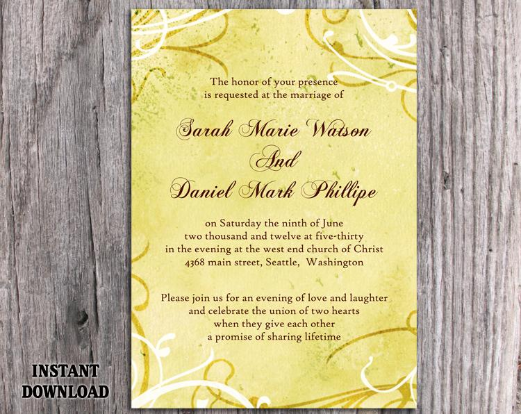 DIY Rustic Wedding Invitation Template Editable Word File Instant