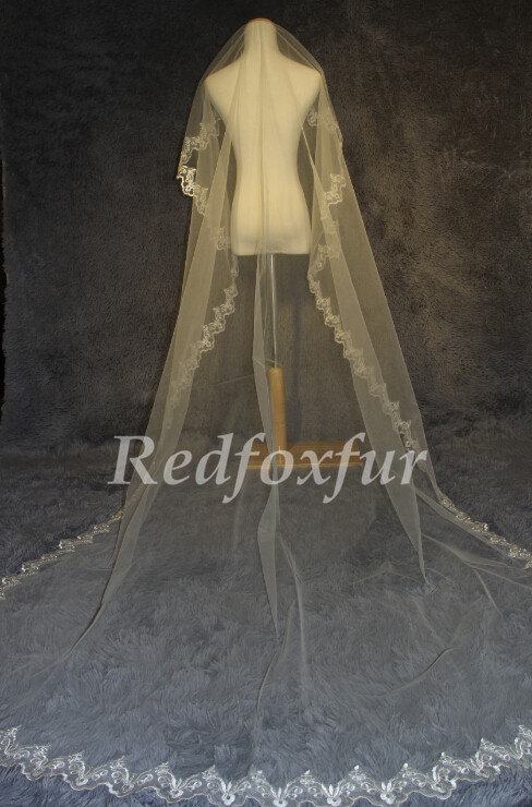 Mariage - 3 m cathedral wedding veil, white ivory bridal trailing veil, lace cathedral veil