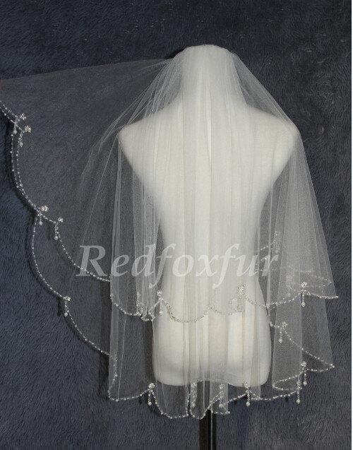 Hochzeit - White ivory beaded bridal veil - Combs Veil - Elbow Bridal Veil - crystal pendant veil - wedding accessories veil -2
