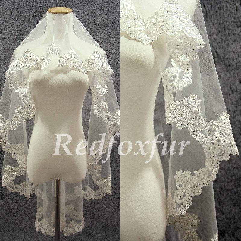 Wedding - 1T Lace Edge Veil Handmade stick drill Alencon lace 1.5m Veil Bridal Veil Ivory Wedding dress veil Wedding Accessories No comb