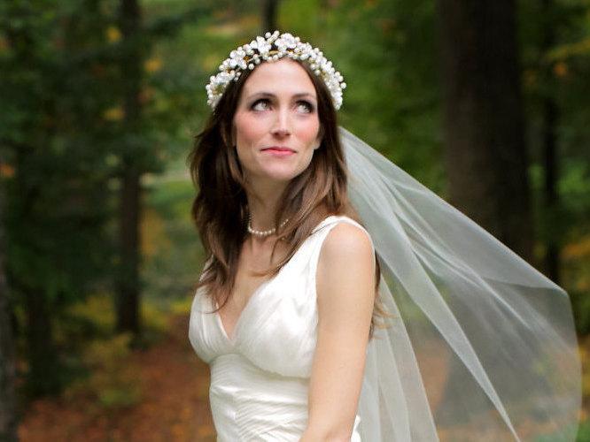 Hochzeit - Bridal Floral Crown, Floral Wreath, Wedding Accessories, Pearl Floral Wreath, Hair Vine,, Style No. 4103