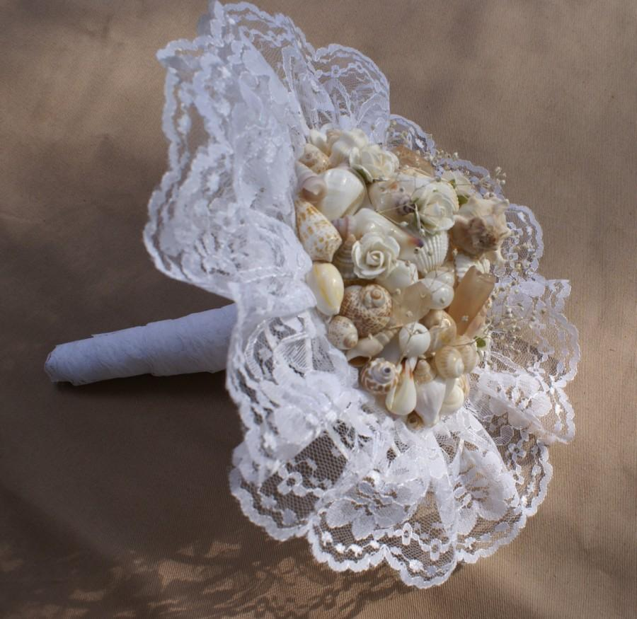 زفاف - Seashell bouquet - wedding bouquet -  wedding keepsake - sea shell - peach bouquet - beach wedding destination