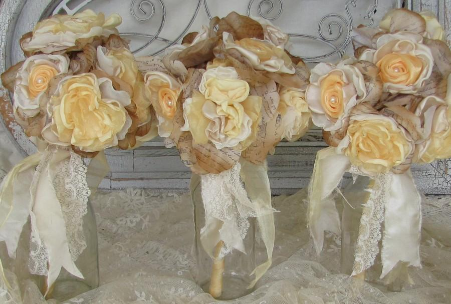 Mariage - Bridesmaid Fabric Flower  Bouquet Set of 3   Custom Order any color