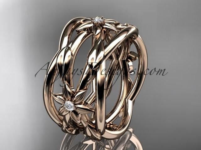 Mariage - 14kt rose gold leaf and vine, flower wedding ring,wedding band ADLR352B