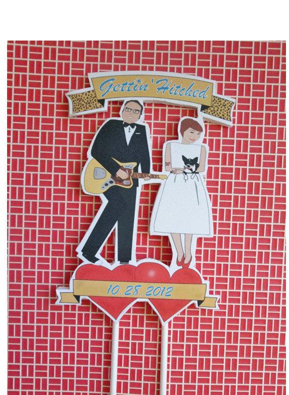 زفاف - Wedding Cake Topper-Custom Retro Bride and Groom
