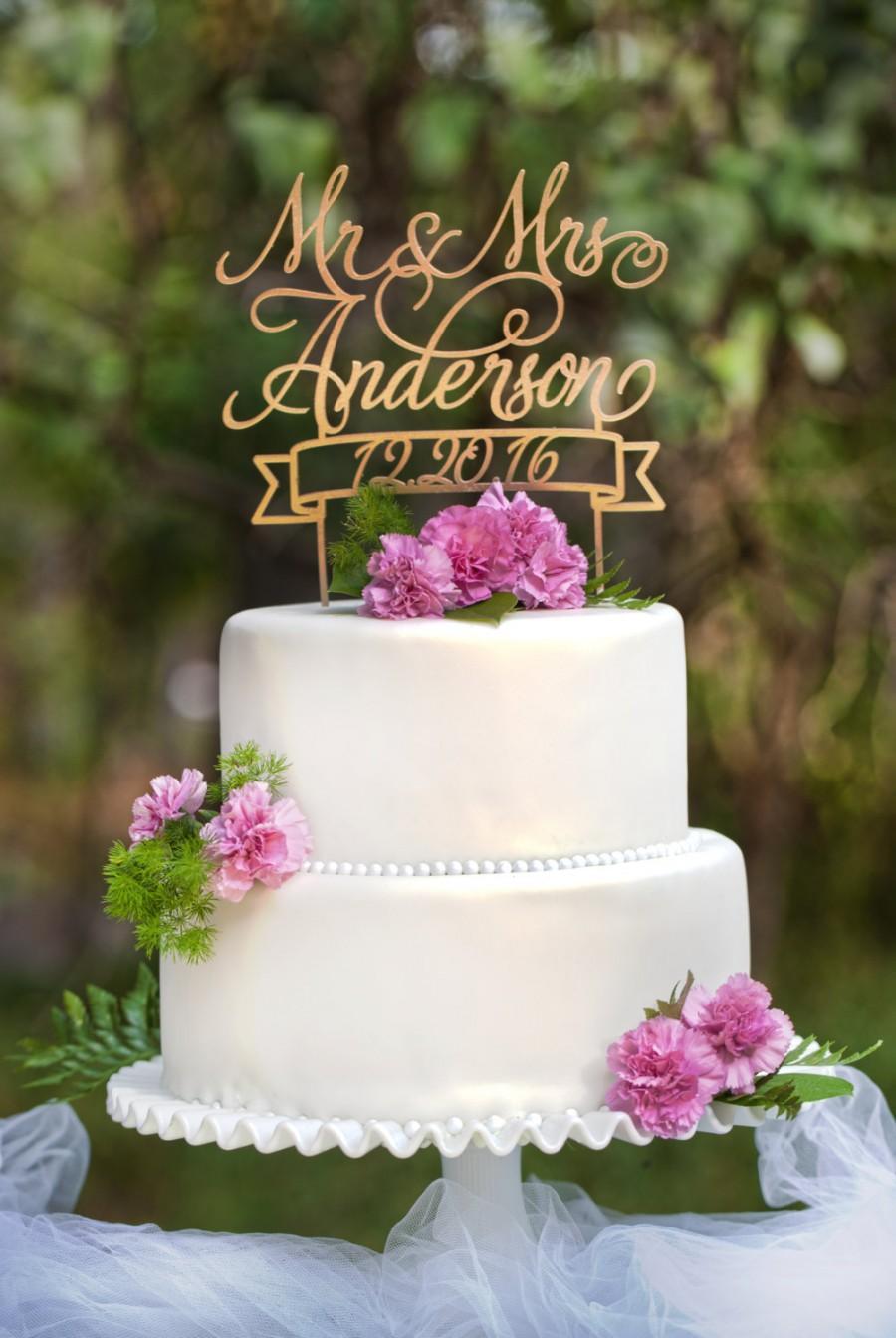 Mariage - Mr & Mrs Custom Name and Date Wedding Cake Topper