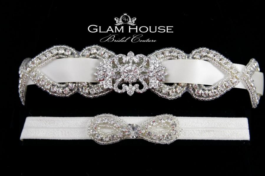 Bridal Garterwedding Gartergarter Belt Wedding Garter Set Beaded Crystal Vintage Weddingsjeweled