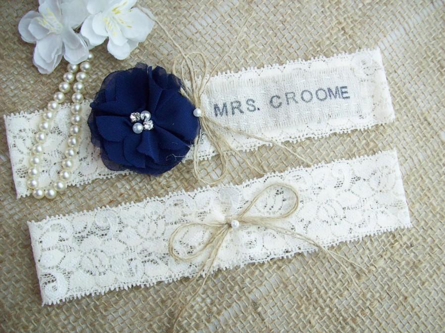 Mariage - Monogrammed Rustic Wedding Garter Set,Navy Blue Rosette Garter Set,Monogrammed Wedding Garter Set