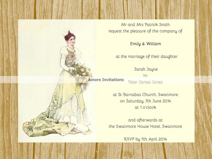 DIY Digital Printable A5 Vintage Wedding Invitation Template